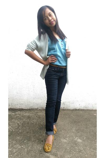 blue Delias jeans - aquamarine banana republic cardigan