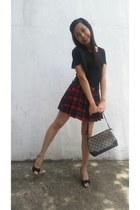 brick red Tout Simplement skirt - black top