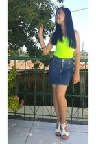 chartreuse LEI top - navy skirt