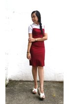 brick red silk HENNES collection dress