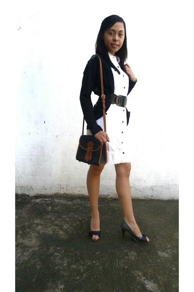 white cecil mcbee dress - black Dooney & Bourke bag - black cardigan