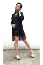 gray H&M dress - black H&M cardigan