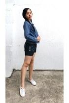 blue denim Guess jacket - blue denim shorts