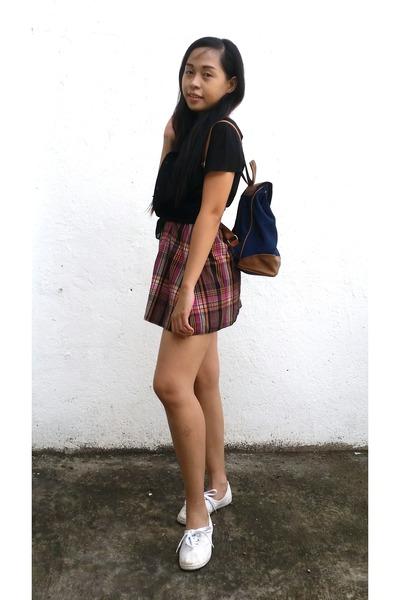 brown dress - navy backpack Girbaud bag