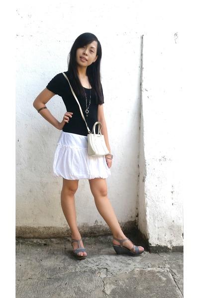 white Nine West bag - white Guess skirt