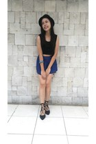 black Latin Love top - blue WAGW shorts - black S&H flats