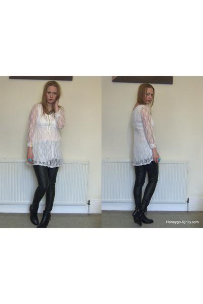 white lace OASAP dress - black ambush boots boots - black faux leather H&M pants