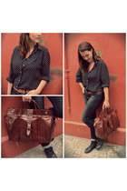 brown leather bag Leather bag from Tunisia bag - black london boots boots