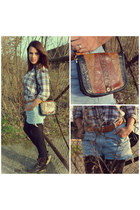 sky blue vintage jeans - dark brown vintage handbag vintage bag