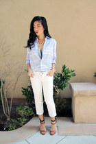 periwinkle periwinkle Burberry shirt - white denim Guess pants