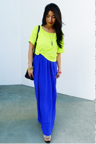 tribal horn Number A necklace - maxi Forever 21 dress - lime Michael Stars shirt