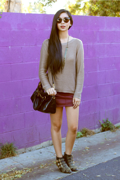 Theory sweater - Jeffrey Campbell boots - H&amp;M skirt
