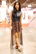 leather Kahlo top - lucca couture skirt