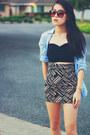 Tan-basketweave-forever-21-skirt-light-blue-button-down-forever-21-shirt
