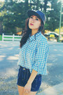 Black-leather-asos-hat-sky-blue-gingham-thrifted-shirt