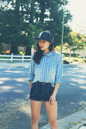 black leather asos hat - sky blue gingham thrifted shirt
