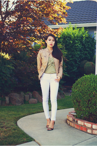 tan pleather Forever 21 jacket - white Crossroads Trading jeans