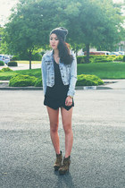 black origami Sheinside skirt - light blue acid wash denim Forever 21 jacket