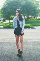 black origami Sheinside skirt - light blue acid wash denim Forever 21 jacket