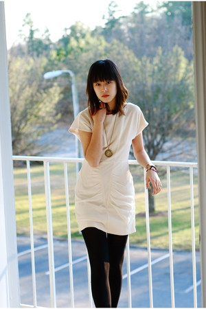 ivory Urban Outfitters dress - black Urban Outfitters tights - modcloth necklace