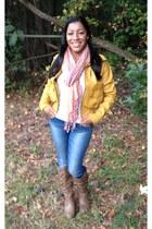 white mountain boots - indigo rein jeans - JouJou jacket