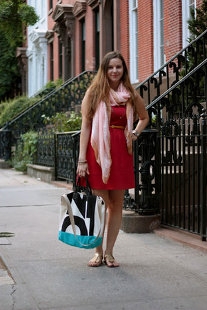 ruby red H Boutique dress - peach H&amp;M scarf - ivory brahmin bag