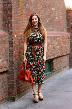 black asos dress - burnt orange Steve Madden bag - brick red H&M necklace