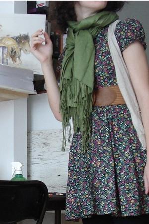 H&M dress - - scarf - H&M belt - Jacob vest - tights - Aldo shoes