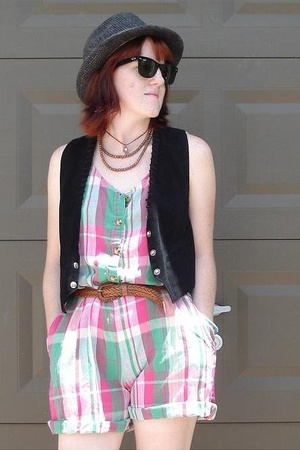 summer pink and green plaid romper