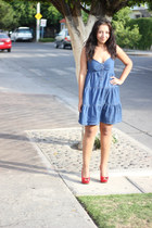 navy random dress - ruby red Qupid heels