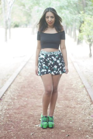 black crop top Bershka top - lime green lace up Jeffrey Campbell shoes