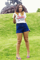red Jeffrey Campbell shorts - navy American Apparel shorts - white DIY t-shirt
