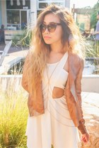 cut out dress - camel leather trouve jacket - sunglasses - accessories