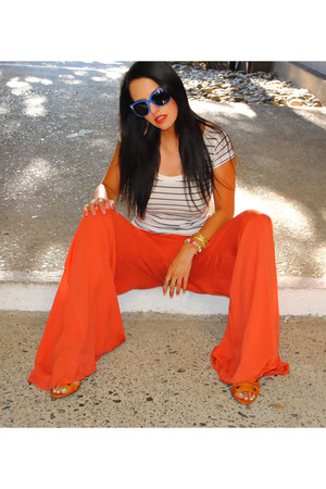 carrot orange asos pants - amethyst Raybans sunglasses
