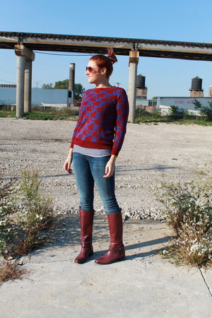 maroon patterned Target sweater - maroon burgundy etienne aigner boots