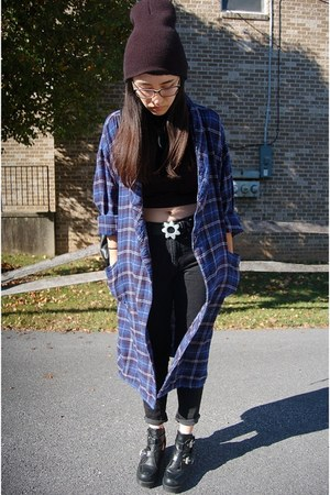blue plaid thrifted jacket - black Gap pants