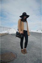 black floppy hat H&M hat - light brown ankle New Direction boots