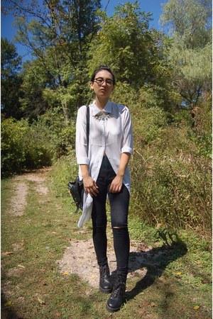black asos boots - black Forever 21 jeans - white DressLink blouse