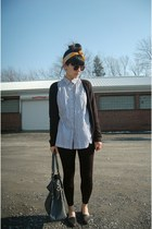 black cardigan JC Penny sweater - black TJ Maxx leggings - gold thrifted scarf