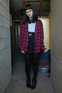 Black-ankle-clarks-boots-black-skater-tj-maxx-skirt
