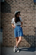 blue thrifted skirt - white striped Newdress top - black Converse sneakers