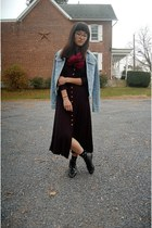 black vintage boots - black vintage dress - sky blue denim Route 66 jacket