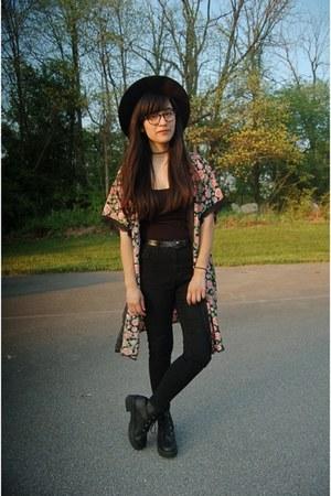 black asos boots - black Forever 21 jeans - black DressLink hat