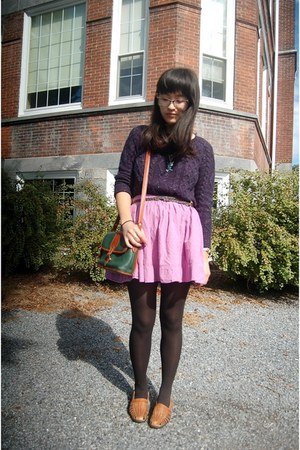 navy Pink Rose sweater - light purple Exhileration skirt