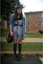 denim thrifted top - white Mudd dress - forest green Sock Dreams socks