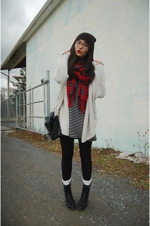 red plaid DressLink scarf - black combat Madden Girl boots