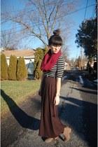 black maxi sears skirt - light brown ankle T J Maxx boots