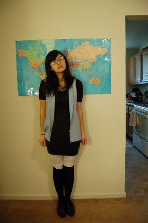 thrifted blouse - American Apparel dress - Delias leggings