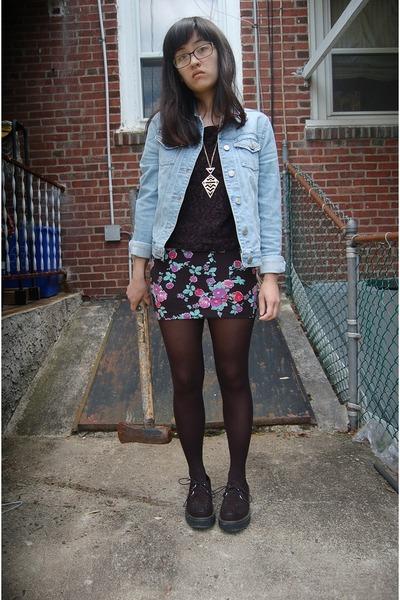bubble gum bodycon kohls skirt - black creepers Mudd shoes