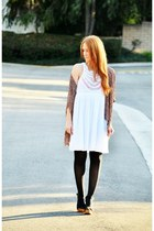 white crochet LuLus dress - black tights